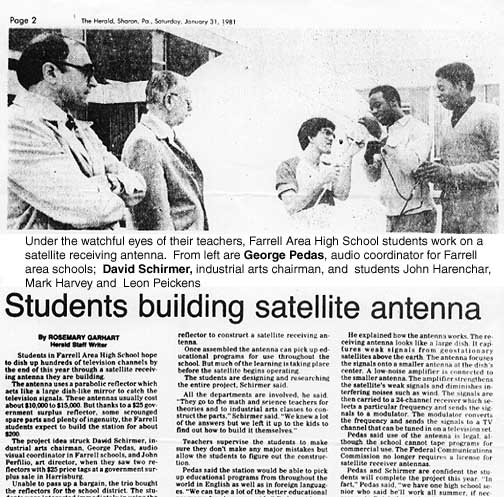 [Students build satellite antenna]
